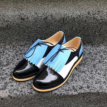 Обувь ручной работы. Ярмарка Мастеров - ручная работа Туфли темно-синий/белый/голубой/черн лак съёмный элемент танкетка. Handmade.