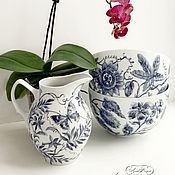 Посуда ручной работы. Ярмарка Мастеров - ручная работа Роспись фарфора Кувшин и кашпо для цветов. Handmade.