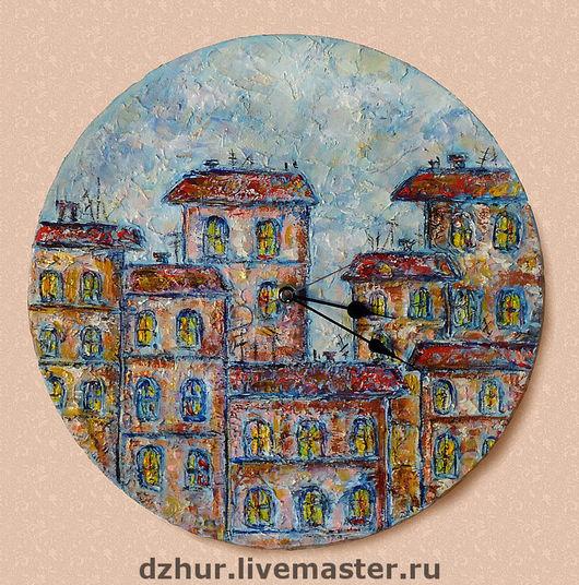 """Часы для дома ручной работы. Ярмарка Мастеров - ручная работа. Купить Часы """"Вечерний город"""". Handmade. Часы, город, стрелки"""