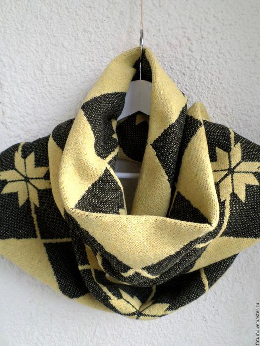 Шарфы и шарфики ручной работы. Ярмарка Мастеров - ручная работа. Купить Шерстяной шарф Лимонная геометрия. Handmade. Лимонный