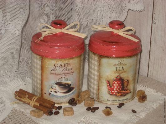 """Кухня ручной работы. Ярмарка Мастеров - ручная работа. Купить Баночки для хранения """" Чай и кофе """". Handmade. Серый"""