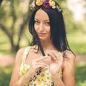 """Украшения ручной работы. Ярмарка Мастеров - ручная работа Цветы в прическу """"Фиолетово-желтые цветы"""", венок, венок на голову. Handmade."""