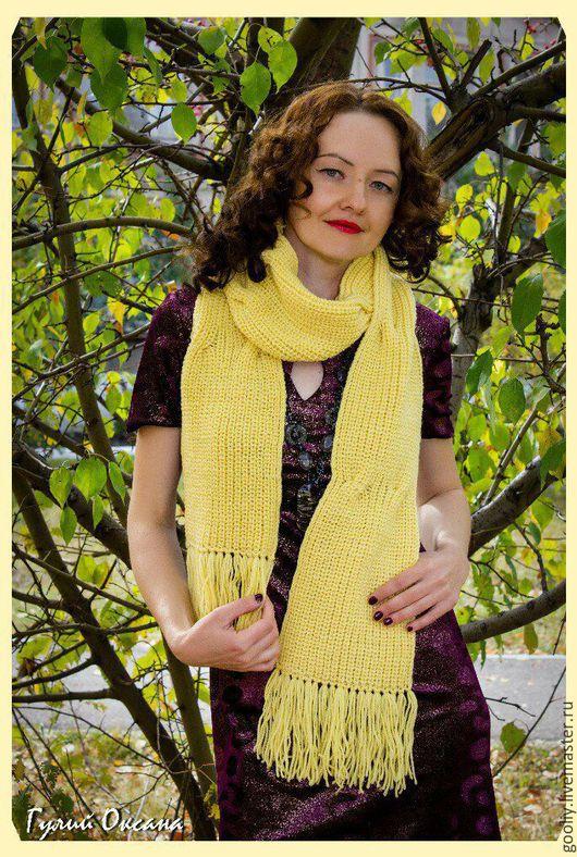 Вязаный шарф из 100% шерсти. Абсолютно не колючий. Бахрома. Ручная работа.