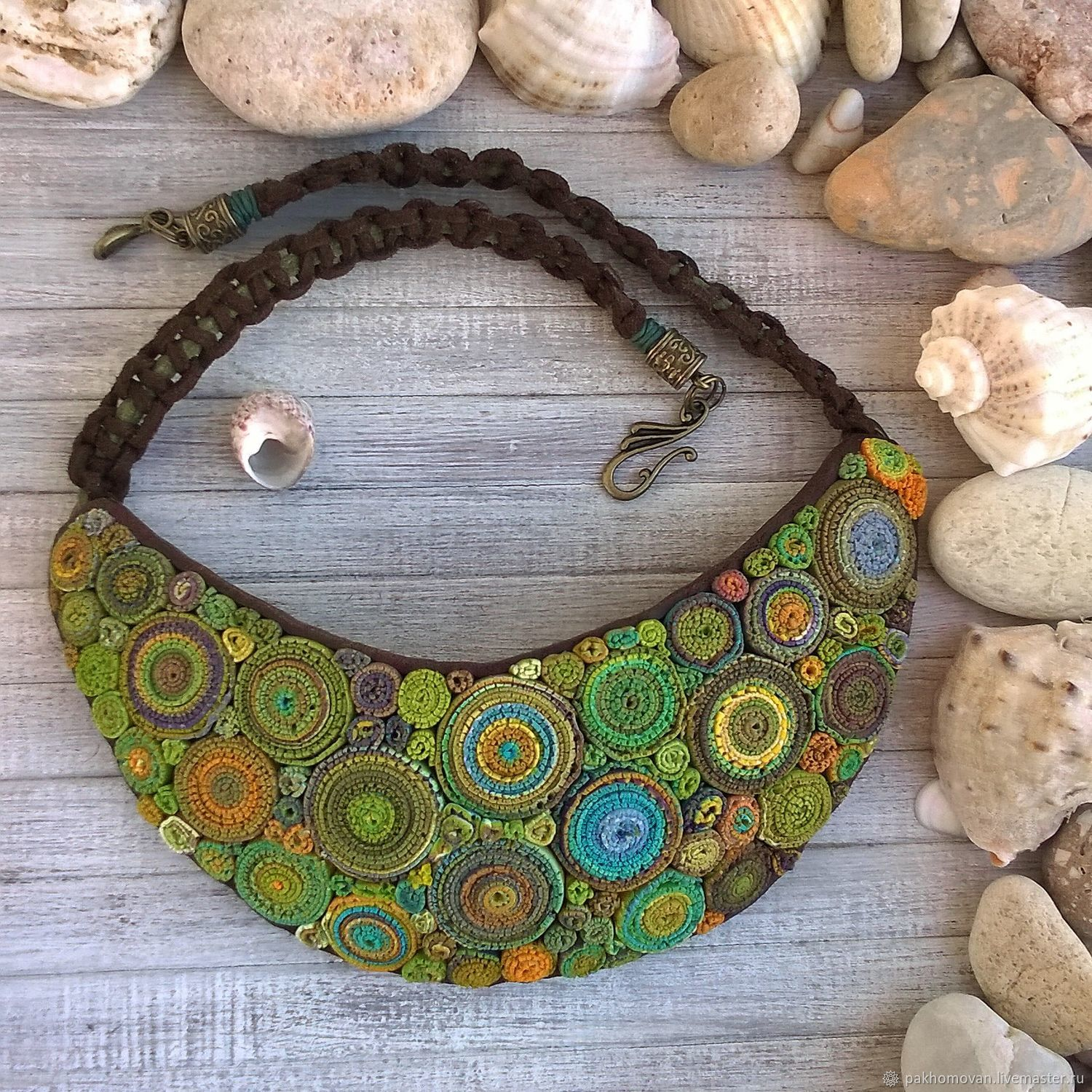 Necklaces & Beads handmade. Livemaster - handmade. Buy FOREST BOHO. Necklace polymer clay Necklace hryvnia.Green