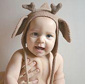 Работы для детей, ручной работы. Ярмарка Мастеров - ручная работа Шапочка Олененок для ребенка 44-46см теплая детская шапочкао. Handmade.