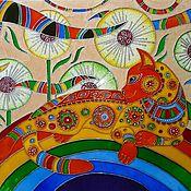 Картины и панно ручной работы. Ярмарка Мастеров - ручная работа Радужная кошка. Handmade.