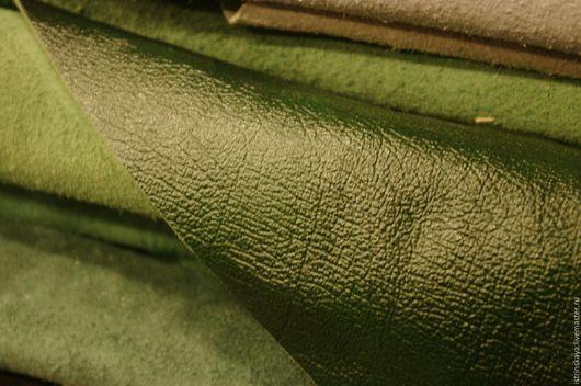 Шитье ручной работы. Ярмарка Мастеров - ручная работа. Купить Кожа натуральная КРС зеленая 150 дец. Handmade.