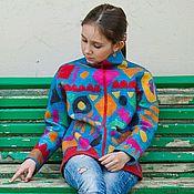 """Одежда ручной работы. Ярмарка Мастеров - ручная работа Кофта валяная Геометрия """".. Handmade."""