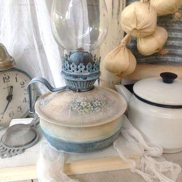 Для дома и интерьера ручной работы. Ярмарка Мастеров - ручная работа Керосиновая лампа ретро Незабудки. Handmade.