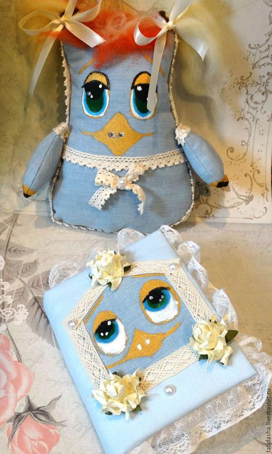 Персональные подарки ручной работы. Ярмарка Мастеров - ручная работа. Купить леди Кряква и ее блокнот. Handmade. Голубой