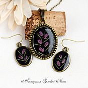 Украшения handmade. Livemaster - original item Set of jewelry with real flowers