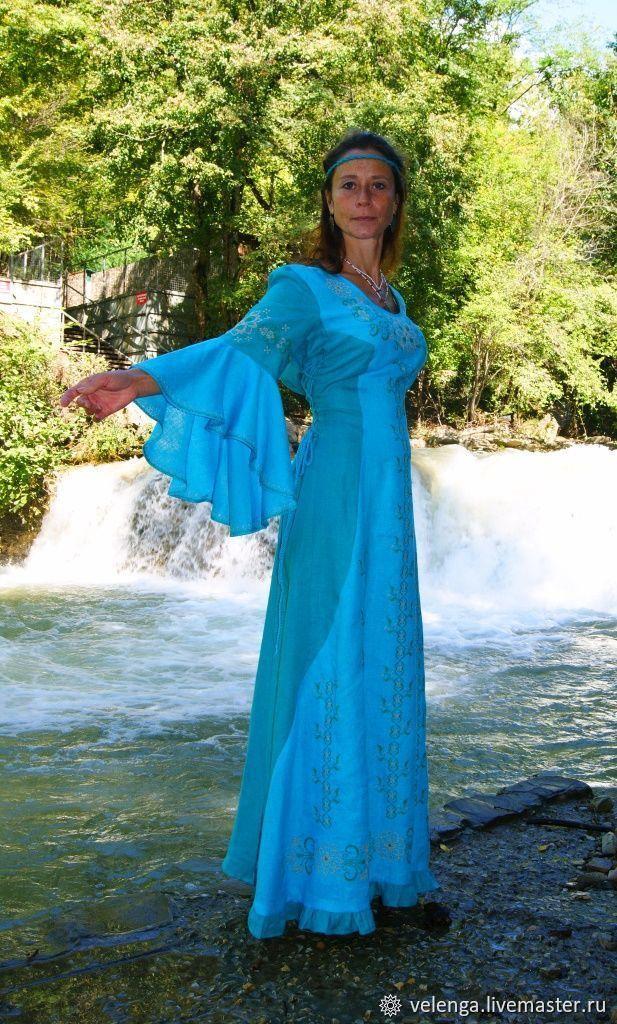 a3f7b739ad1 Вечернее платье из льна с вышивкой Наяда. Веленга (Славянский стиль