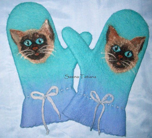 """Варежки, митенки, перчатки ручной работы. Ярмарка Мастеров - ручная работа. Купить Варежки """"Сиамы"""". Handmade. Сиамский кот, Кошки"""
