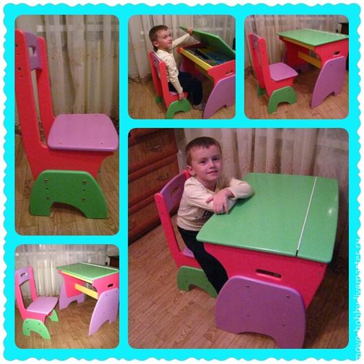 Мебель ручной работы. Ярмарка Мастеров - ручная работа. Купить Детская парта и стульчик. Handmade. Разноцветный, Парта, детская мебель