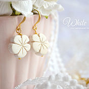 Украшения handmade. Livemaster - original item Earrings flowers with white wood. Handmade.