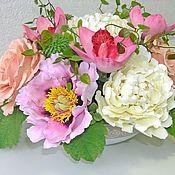Цветы и флористика ручной работы. Ярмарка Мастеров - ручная работа Белые пионы с розами. Handmade.