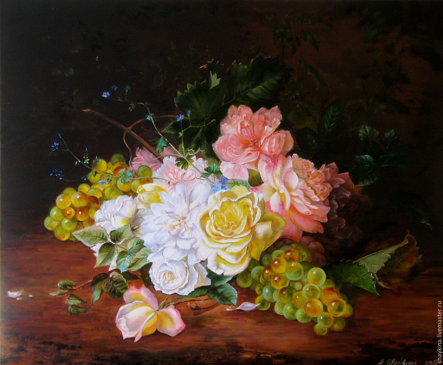 Картина маслом на холсте на подрамнике Розы и виноград голландия, Картины, Сыктывкар, Фото №1