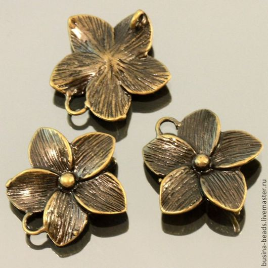 Металлическая подвеска коннектор цветок Магнолия из латуни с покрытием бронза для использования в сборке украшений