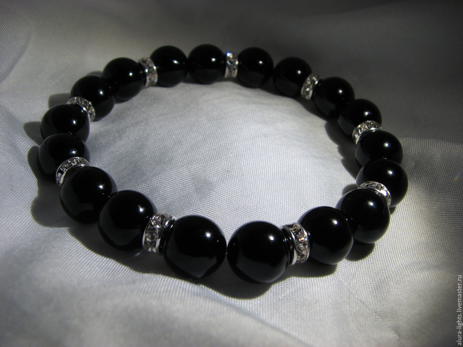Bracelet with black agate and crystals, Bead bracelet, Moscow,  Фото №1