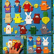 Куклы и игрушки ручной работы. Ярмарка Мастеров - ручная работа Пальчиковый театр (5 сказок; 19 предметов). (из фетра). Handmade.