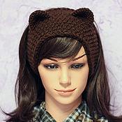 Аксессуары ручной работы. Ярмарка Мастеров - ручная работа Повязка на голову с ушками Медвеженок, вязаная для волос. Handmade.