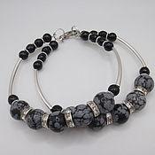Украшения handmade. Livemaster - original item Double bracelet with obsidian and black agate. Handmade.