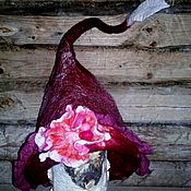 Шапки ручной работы. Ярмарка Мастеров - ручная работа Шляпка валяная Жанетта (бордо). Handmade.