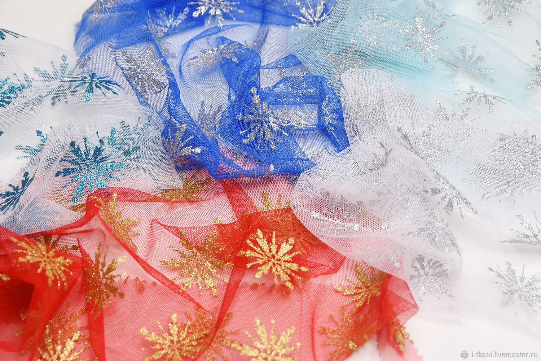 Фатин со снежинками ГЛИТТЕР. Красный, белый, бирюза, Тиффани, электрик, Ткани, Москва,  Фото №1