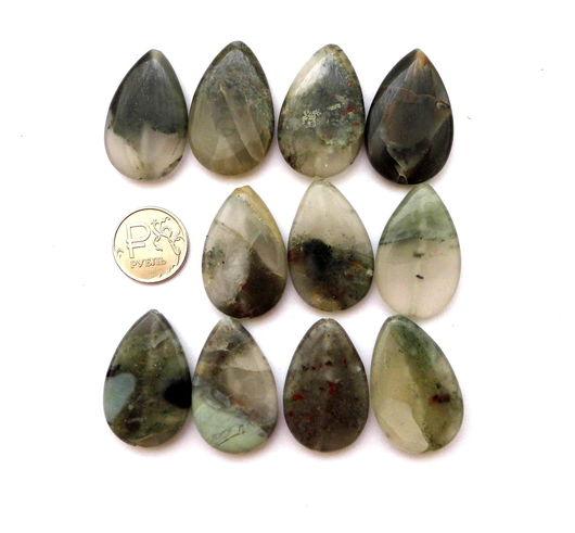 Для украшений ручной работы. Ярмарка Мастеров - ручная работа. Купить Яшма 11 камней набор зеленый крупные бусины капли. Handmade.