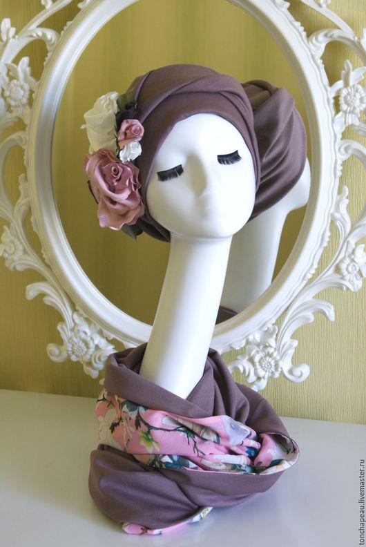 Шапки ручной работы. Ярмарка Мастеров - ручная работа. Купить Комплект из тюрбана с цветами и снуда. Handmade. Розовый, снуд восьмерка