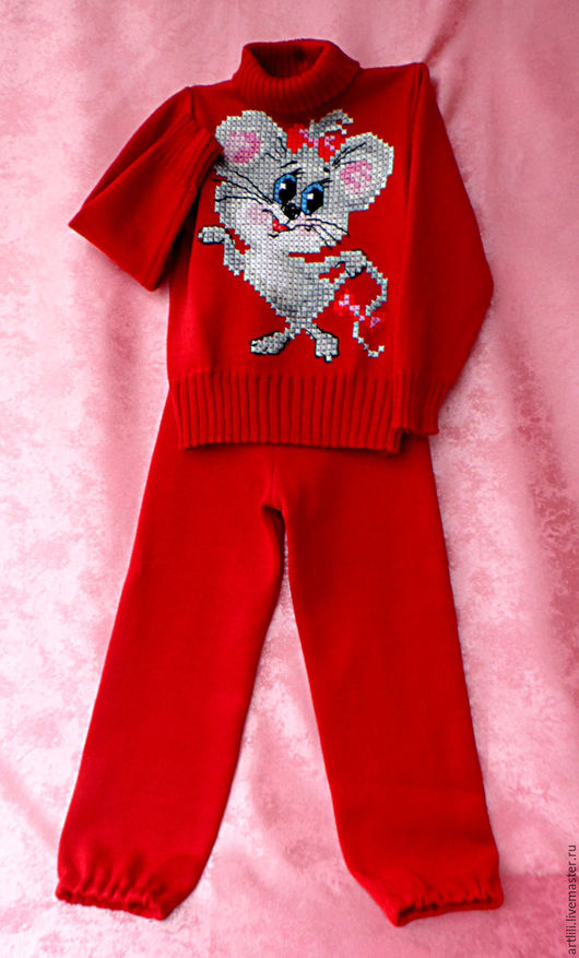 """Одежда унисекс ручной работы. Ярмарка Мастеров - ручная работа. Купить вязаный детский комплект """" Мышка-норушка"""". Handmade."""