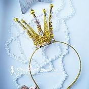 Работы для детей, ручной работы. Ярмарка Мастеров - ручная работа New! Корона Царевны со стразами. Золотая корона принцессы на ободке. Handmade.