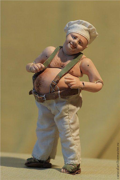 Коллекционные куклы ручной работы. Ярмарка Мастеров - ручная работа. Купить Весельчак. Фарфоровая шарнирная кукла. Handmade. Бежевый, батист
