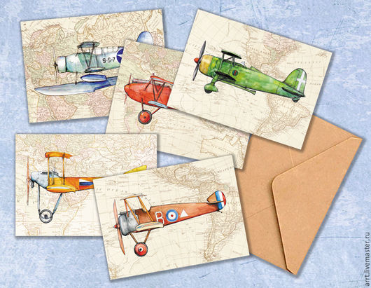 Открытки для мужчин, ручной работы. Ярмарка Мастеров - ручная работа. Купить Аэропланы открытки для мужчин и мальчиков Набор 5 шт. Handmade.