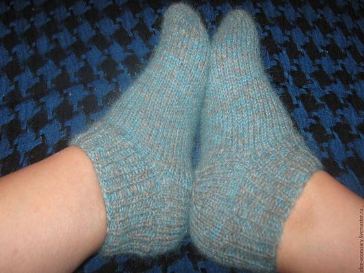 Носки, Чулки ручной работы. Ярмарка Мастеров - ручная работа. Купить шерстяные носки Следы. Handmade. Бирюзовый, шерстяные носки