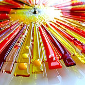 Для дома и интерьера ручной работы. Ярмарка Мастеров - ручная работа часы из стекла, фьюзинг  Пусть всегда светит солнце. Handmade.