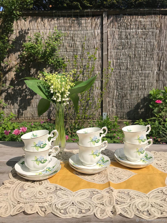 Coffee set 'Lily' 6 pairs bone China (England), Vintage mugs, Arnhem, Фото №1
