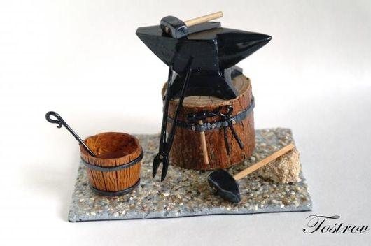 """Миниатюрные модели ручной работы. Ярмарка Мастеров - ручная работа. Купить Миниатюра """"Во кузнице..."""" (подарок для кузнеца). Handmade."""