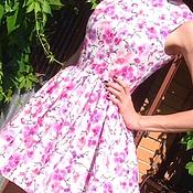 Одежда ручной работы. Ярмарка Мастеров - ручная работа Платье летнее из хлопка Орхидеи на белом. Handmade.