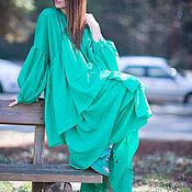 Одежда handmade. Livemaster - original item Summer shift dress with frill - DR0179CT. Handmade.