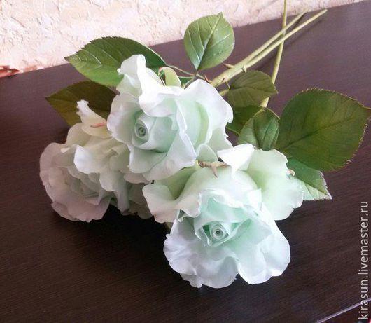 """Цветы ручной работы. Ярмарка Мастеров - ручная работа. Купить Интерьерные розы """"Мятная нежность"""" (продаются без вазы) 3 шт.. Handmade."""