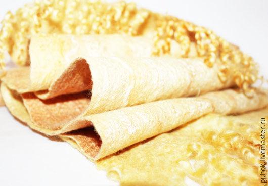 Берет шарф варежки комплект валяный золотой с флисом, Варежки, Тюмень,  Фото №1