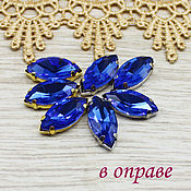 Материалы для творчества handmade. Livemaster - original item Glass rhinestones 18h9 mm Sapphire in silver and gold frames. Handmade.