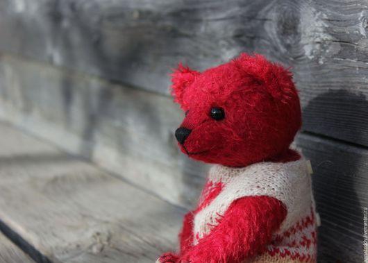 Мишки Тедди ручной работы. Ярмарка Мастеров - ручная работа. Купить Авторский мишка Марк. Handmade. Ярко-красный