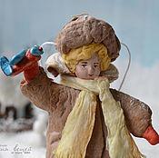 Подарки к праздникам ручной работы. Ярмарка Мастеров - ручная работа Ватная елочная игрушка ГЕНКА С САМОЛЕТИКОМ. Handmade.