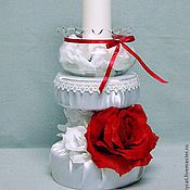 Свадебный салон ручной работы. Ярмарка Мастеров - ручная работа Свеча - семейный очаг ( для свадьбы в красно-белых тонах). Handmade.