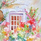 """Картины и панно ручной работы. Ярмарка Мастеров - ручная работа Картина """"Дверь в лето"""" акварель 33х25 см. Handmade."""
