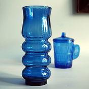 Винтаж handmade. Livemaster - original item Vase blue glass of the USSR. Handmade.