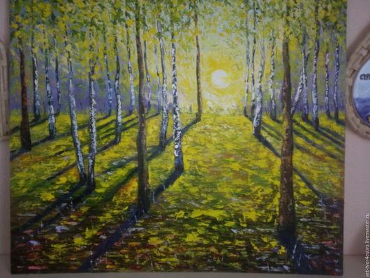 Пейзаж ручной работы. Ярмарка Мастеров - ручная работа. Купить Осень. Handmade. Желтый, холст на картоне