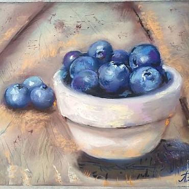 Картины и панно ручной работы. Ярмарка Мастеров - ручная работа Картина пастелью Чашка с ягодами. Handmade.